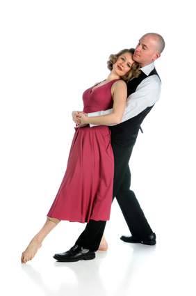 Couple Dancing Over White Background